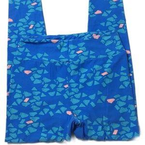 Lularoe Leggings One Size Blue Pink Geometric C119